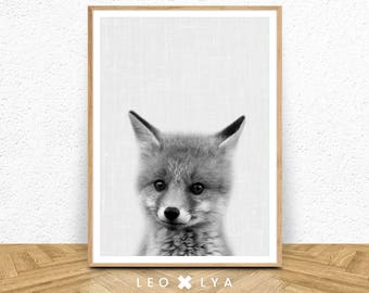 Fox Cub Print, Woodlands Nursery Decor, Baby Animal Poster, Black and White, Large Printable Photo Poster, Minimalist, Babies Room Fox Art
