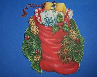 Vintage Christmas Ornament Card, Hang Tag, Stocking,  Pinecones, 1940's, Dual Sided,Double Sided