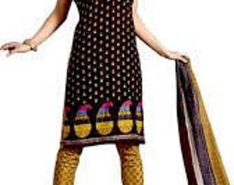 Brown Fabric Indian Printed Traditional Suit Salwar Women Evening Wear Dress Material Sewing Unstitched Fabric 100% Cotton Dress Dupatta Set