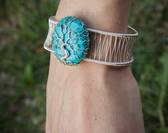 Turquoise Tree Bracelet - Crystal jewelry - Gift graduation - Gemstone -  Handmade bracelet - Mother gift - Unique jewelry - Tree of life