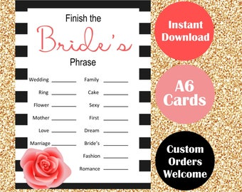 Paris Chanel Inspired Bachelorette Party Games - Bridal Shower Game Cards - Finish the Bride's Phrase - Hen Parties Hens Night - Black White