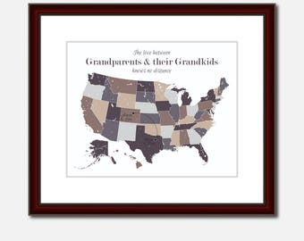 Long Distance Grandparents Long Distance Gift Long Distance Gift for Grandparents Distance Map for Grandparents Personalized Two Map Present