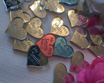 30 Personalised Mirror Hearts Table Confetti - Wedding Table Decorations - Wedding Favours - Laser Cut Hearts