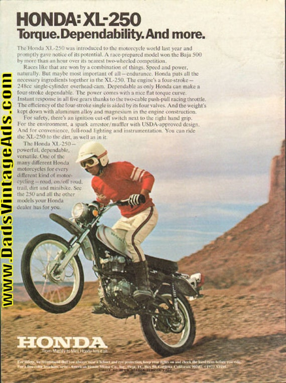 1973 Honda XL-250 Motorcycle Ad #e73ca04