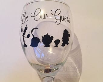 Be our guest beauty and the disney beast inspired wine glass vinyl decal