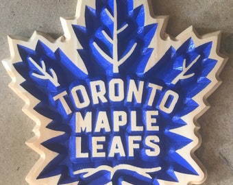 Toronto Maple Leafs Carved Wooden Sign