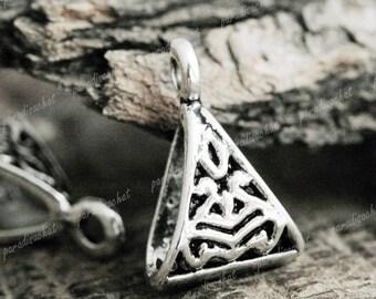 Set of 5 Tibetan silver triangular carved 16x10mm bails