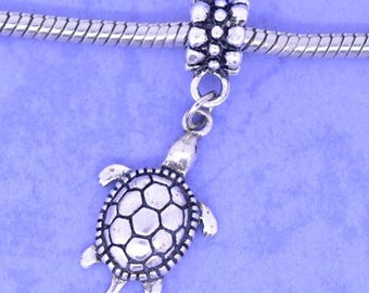 Antique silver CHARMS 38x15mm TURTLE charm