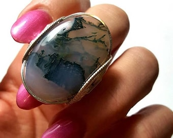 SALE Moss Agate Ring, Size 7, 7.5, Size 8, Large Natural Oval Stone Ring, Statement Rings, Sterling Silver, Boho Rings, Green Stone Ring