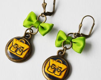 Yellow background Briefcase earrings black and white bow Green