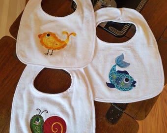 Baby Bibs - Set of 3 -Paisley Pets - Snail, Chick, Fish - Nom Nom