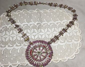 Vintage 50's - 60's bead and safety pin necklace.