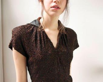 1930s crepe silk soutache heavily beaded art deco day dress