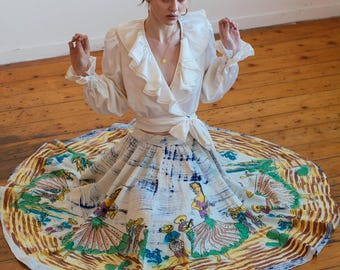 RARE late 1940s/early 50's painted Mexican circle skirt