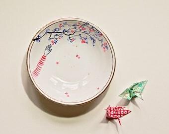 Vintage Ceramic Italian Small Bowl - Hand-painted Flowers