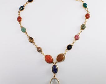 14k Yellow Gold Scarab Necklace
