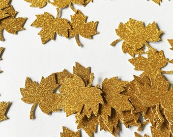 50 non shed Gold glitter leaves ideal for cardmaking table scatter for weddings and parties
