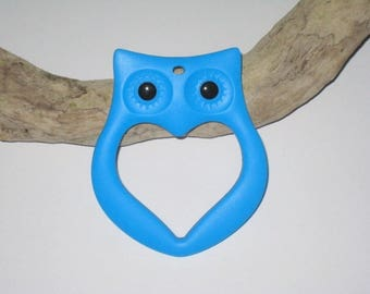 Anneau de dentition hibou en silicone alimentaire bleu
