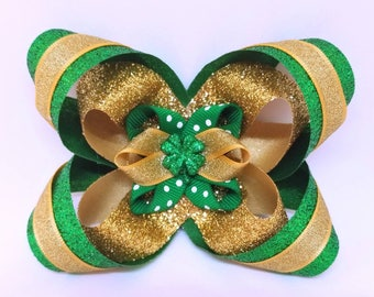 Lucky 4 Leaf Clover - St. Patrick's Day Gift - St Paddys Dog Bow Tie - St Paddys Hair Bow - St Patrick's Day Bow