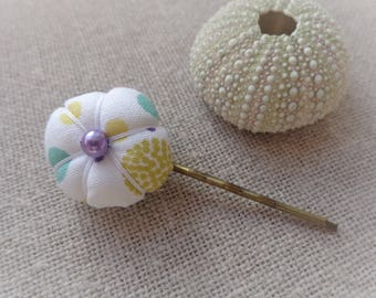 Fabric hairclip hair clip pin plate Japanese 2.2 cm - ninette pins flower hair pin
