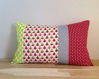 Cushion cover 50 x 30 cm, pink, grey and lime green teepee