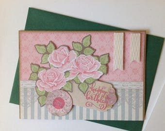 Birthday card, wife, double, made, 3D, flower bouquet, pink