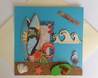 Birthday card, all occasions made 3D, Surf, sea, vacation