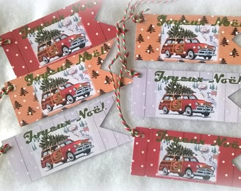 "6 Christmas tags tree on car style Ribbon 3 Fund different inscription ""Merry Christmas"""