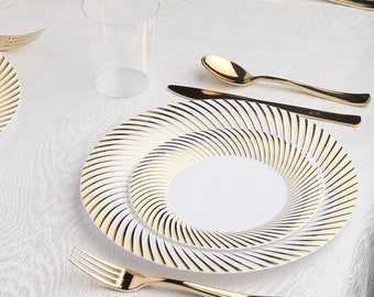 Kaya Collection - Deluxe Swirl Gold Disposable Plastic Party Package - Includes Dinner Plates, Salad Plates, Gold Cutlery, Tumblers