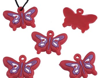 X 5 - Charms silicone 25 x 18 mm Purple Butterfly eye +/-2 mm pendant