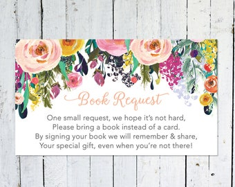 Book Request Insert, Baby Shower, Floral, Watercolor, Colorful,Bring A Book Instead Of A Card, Printable, Instant Download, Books For Baby