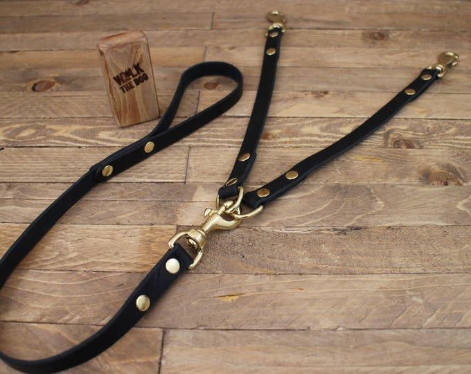 Leather leash, Coupler Dog Leash, 3/4 Width,  Burgundy leather lead, Double leash, Dog walk, Pet gift, Leather coupler leash.