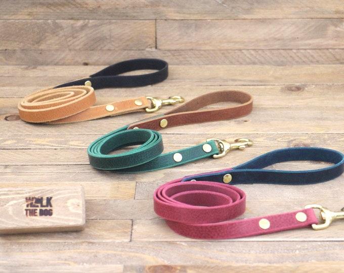 Leather dog leash, Dog lead, Brass, Handmade dog leash, Dog walk, Two tone leash,Lead, Everyday lead, Leash, Dog gift, Blue leash.