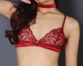 Sheer red lace bralette ,Sheer lingerie,