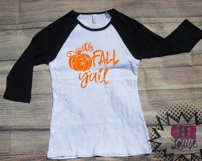 It's Fall Y'all Grunge T-shirt Adult Raglan Baseball Tee  Vinyl Unisex Cotton Autumn Leaves Pumpkin Spice