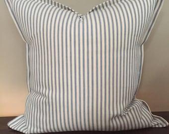Blue Ticking Stripe Pillow w/Flat Ruffle Trim, Farmhouse Pillows, Cottage Pillows, Home Decor, Pillow Cover 18x18 or 20x20