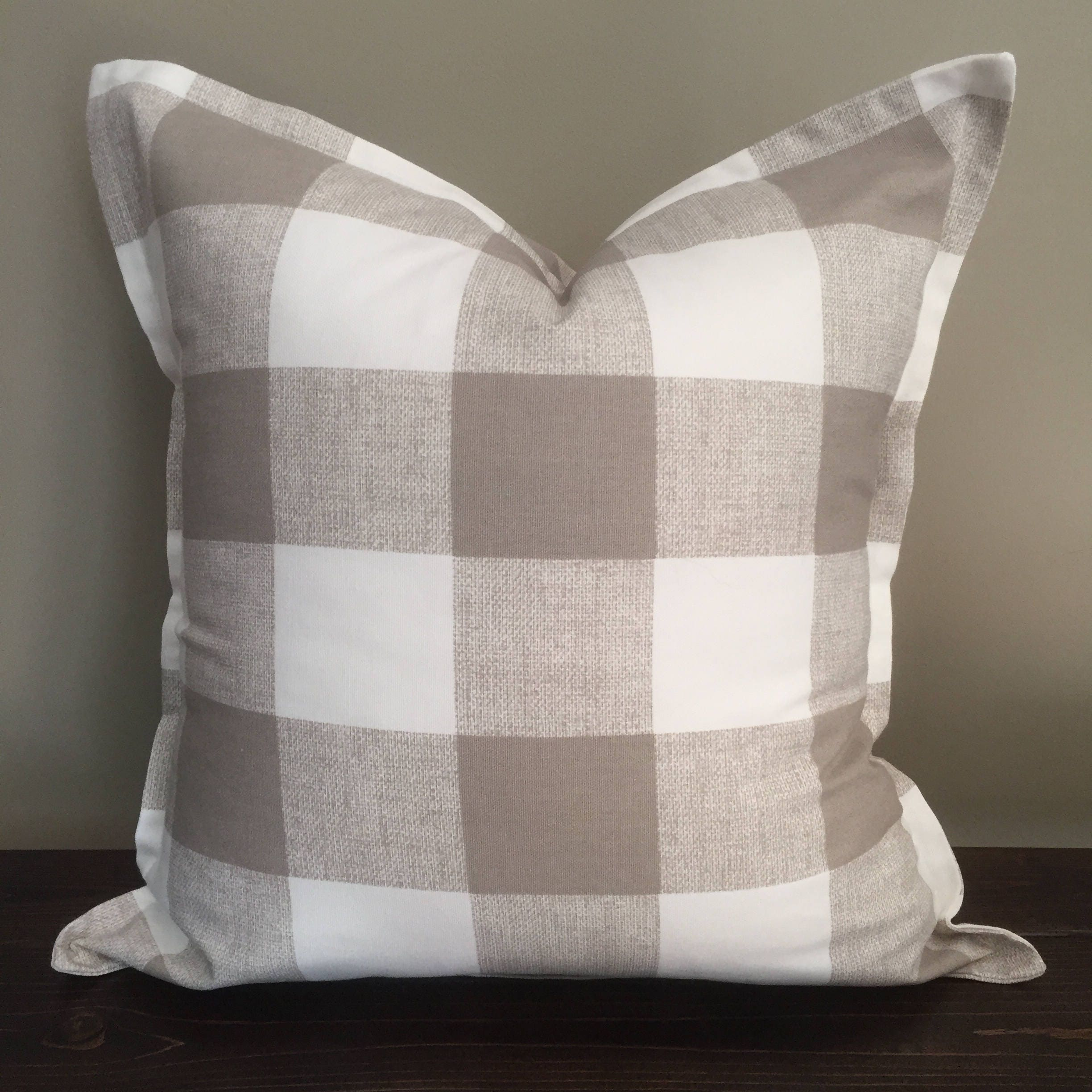 Taupe Buffalo Check Pillow Throw Pillow Cover Flat Ruffle