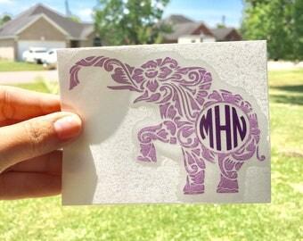 Elephant Monogram Decal-Elephant Decal | Monogram Decal | Elephant Decal | Monogrammed Elephant Decal | Elephant Decal | Car Decal