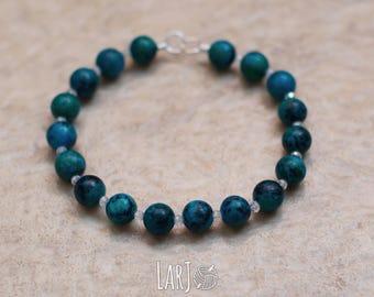 AQUA Natural Stone Hand-Beaded Elastic Bracelet