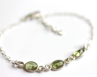 Peridot Braclet, Sterling Silver Chain, August Birthstone, Delicate Jewelry, Apple Green Gemstone