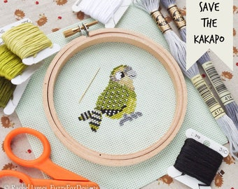 Kakapo Cross Stitch Pattern PDF | Cute Little Bird | Easy | Modern | Beginners Counted Cross Stitch | Instant Download