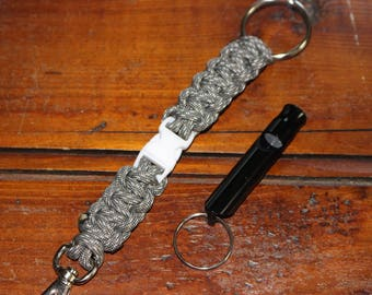 Paracord Key Fob with Swivel Clip, Detachable Key Ring, Key Ring with Optional Whistle, Key Clip, Paracord Key Ring, Whistle Key Ring
