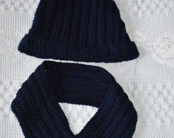 Navy hat and cowl set