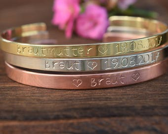 Custom Coordinates, Custom Name, Custom Bracelet, Wedding, Hochzeit, Gold, Silvginer, Rose Gold Cuff, Graduation, Bridesmaid, Trauzeugin