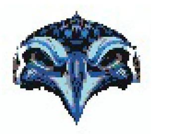 Seahawk Perler Bead Sprite Pattern - Pixel