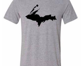Upper Michigan Ski Shirt, White, Ski Shirt, Tshirt