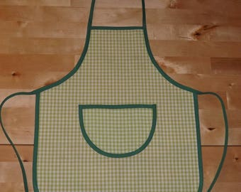 Kids apron personalized green and white gingham