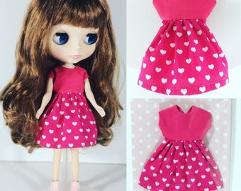 Pink cotton dress for Blythe Doll or Blythe dress