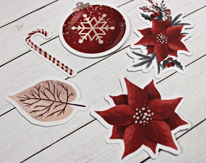 Planner Die Cuts - Die Cut Set - Christmas Die Cuts - Pointsettia Die Cut Set - Candy Cane Die Cuts - ornament die cuts - floral die cut set
