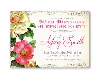 90th Surprise Birthday Invitations, Women's 90th Birthday, Vintage Roses, Surprise Party Invitations, Birthday Dinner Invitations for her